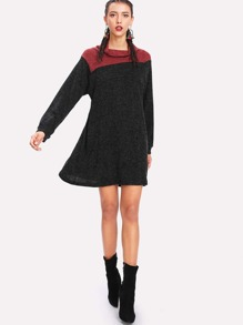 Two Tone Raglan Sleeve Swing Sweater Dress