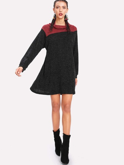 Two Tone Raglan Sleeve Swing Sweater Dress