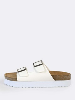 Side Double Buckle Sandals WHITE