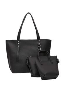 حقيبة يد أسود مع ثلاث قطعات مجموعة