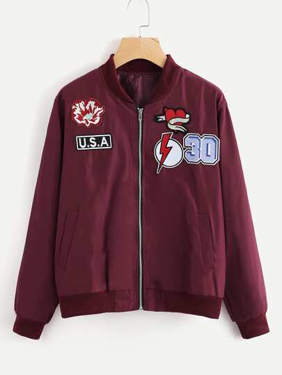 Embroidered Patch Zip Up Jacket