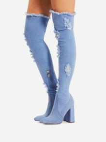 Side Zipper High Heeled Denim Boots