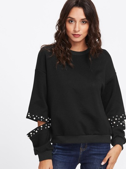 Pearl Beaded Cut Out Pullover