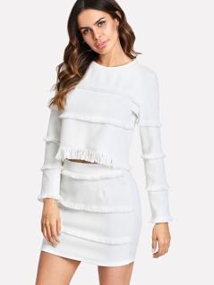 Fringe Detail Textured Crop Top & Skirt Set