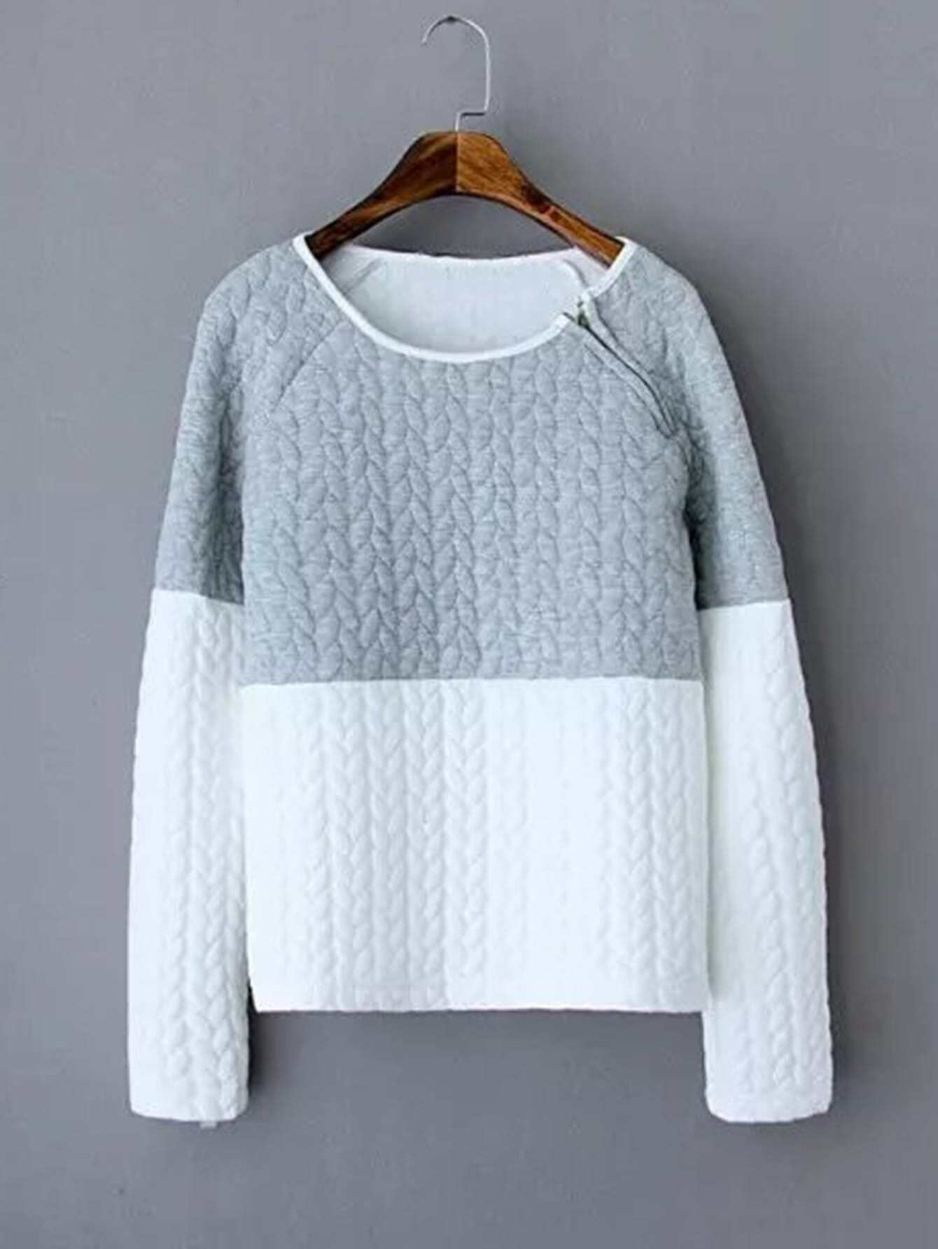 Raglan Sleeve Two Tone Sweatshirt