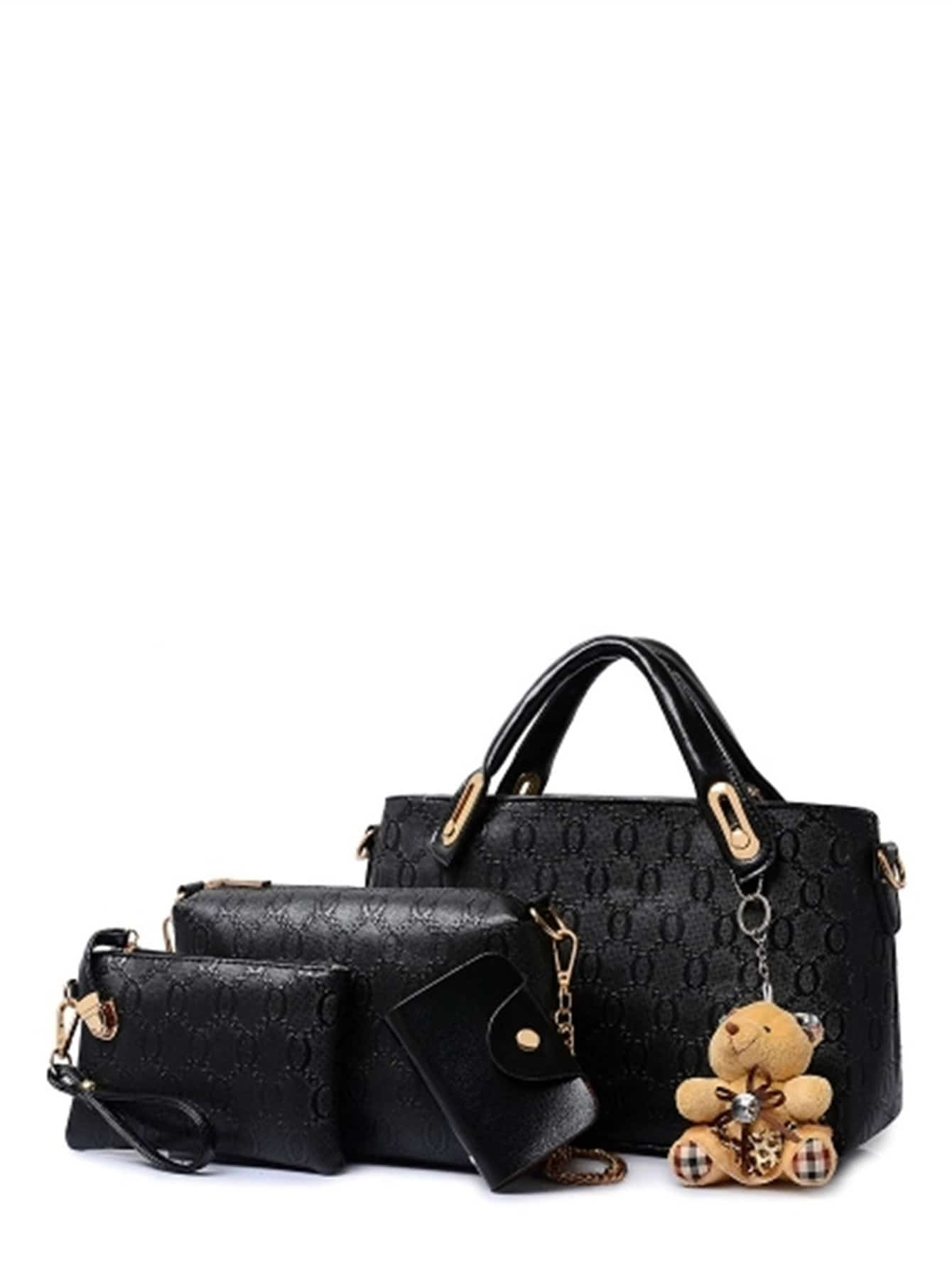 PU Combination Bag 4pcs With Bear Detail