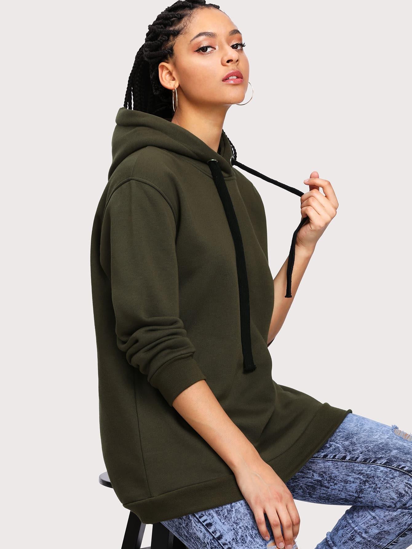 Drawstring Hooded Sweatshirt alien print drop shoulder hooded drawstring sweatshirt