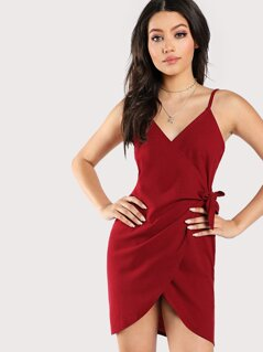 Knot Side Surplice Wrap Slip Dress