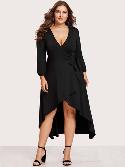 Self Tie Waist Dip Hem Wrap Dress