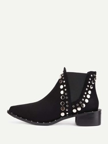 Studded Detail Block Heeled Ankle Boots