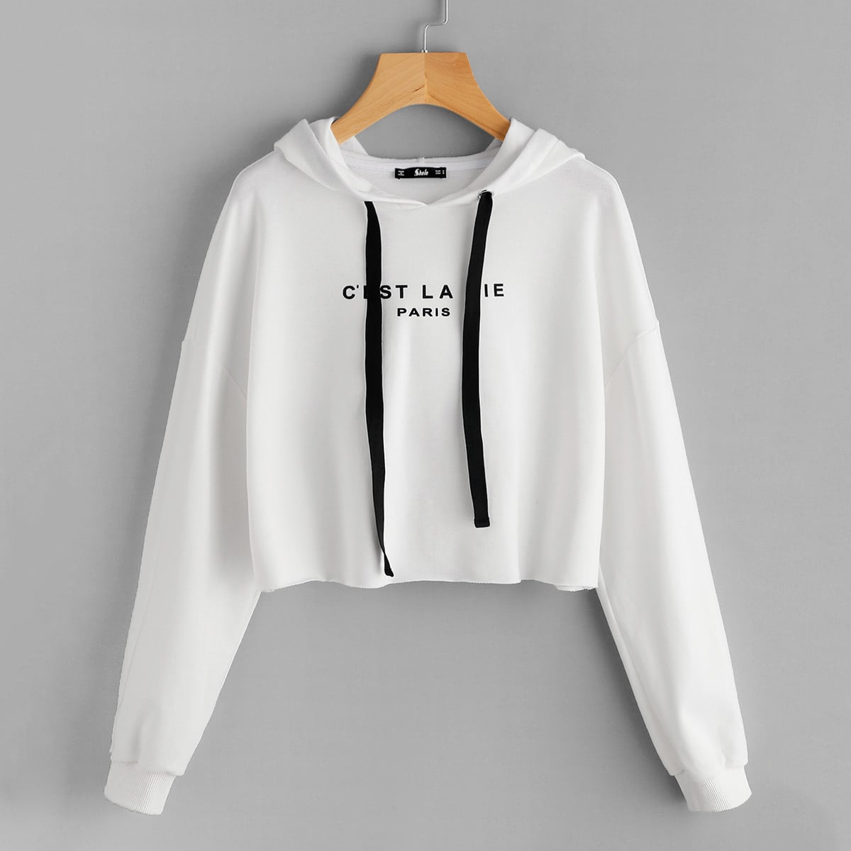Cropped hoodie met opschrift