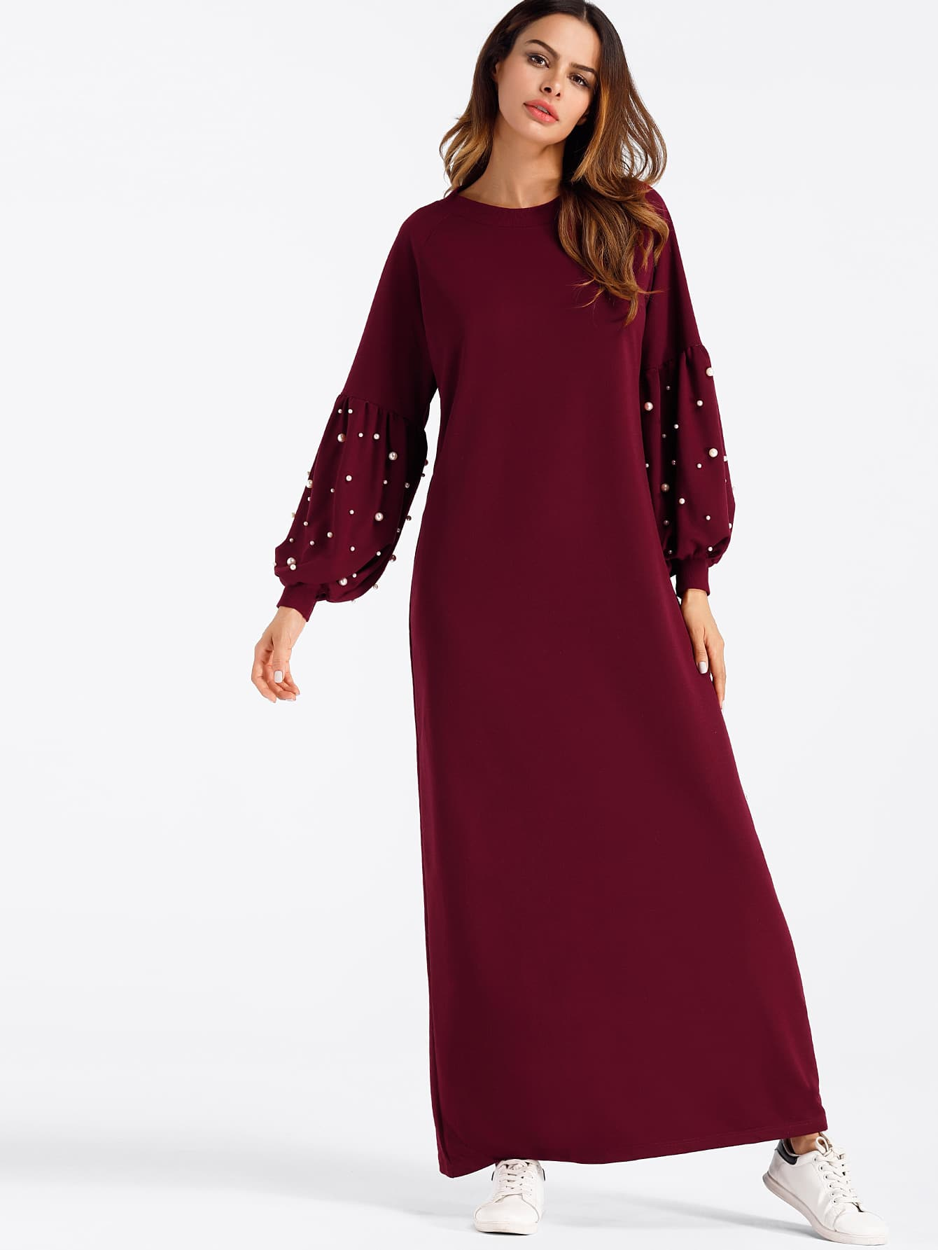 Lantern Sleeve Pearl Beaded Full Length Dress