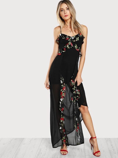 Embroidery Floral Frill Split Maxi Dress