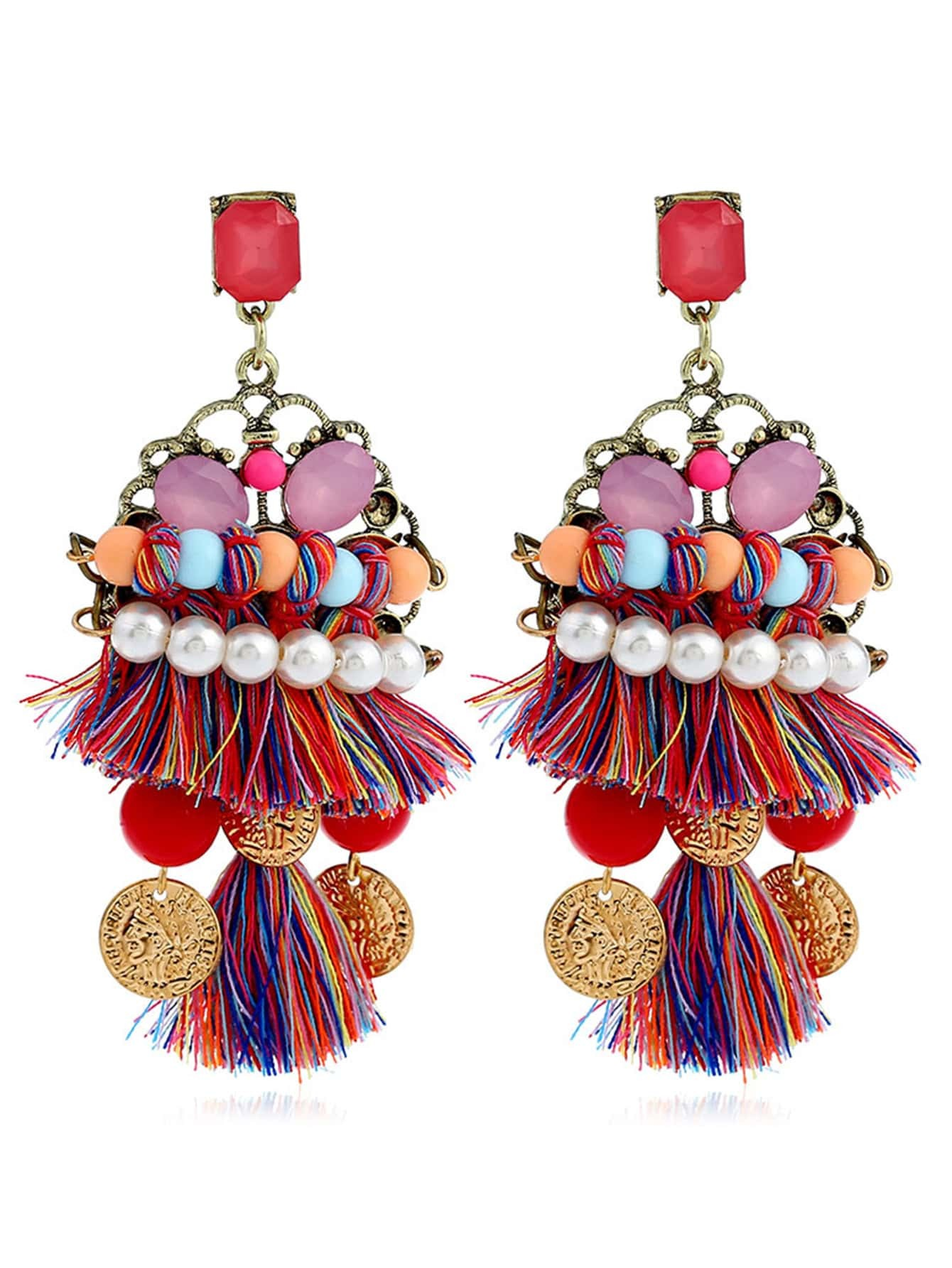 Faux Pearl & Tassel Design Drop Earrings