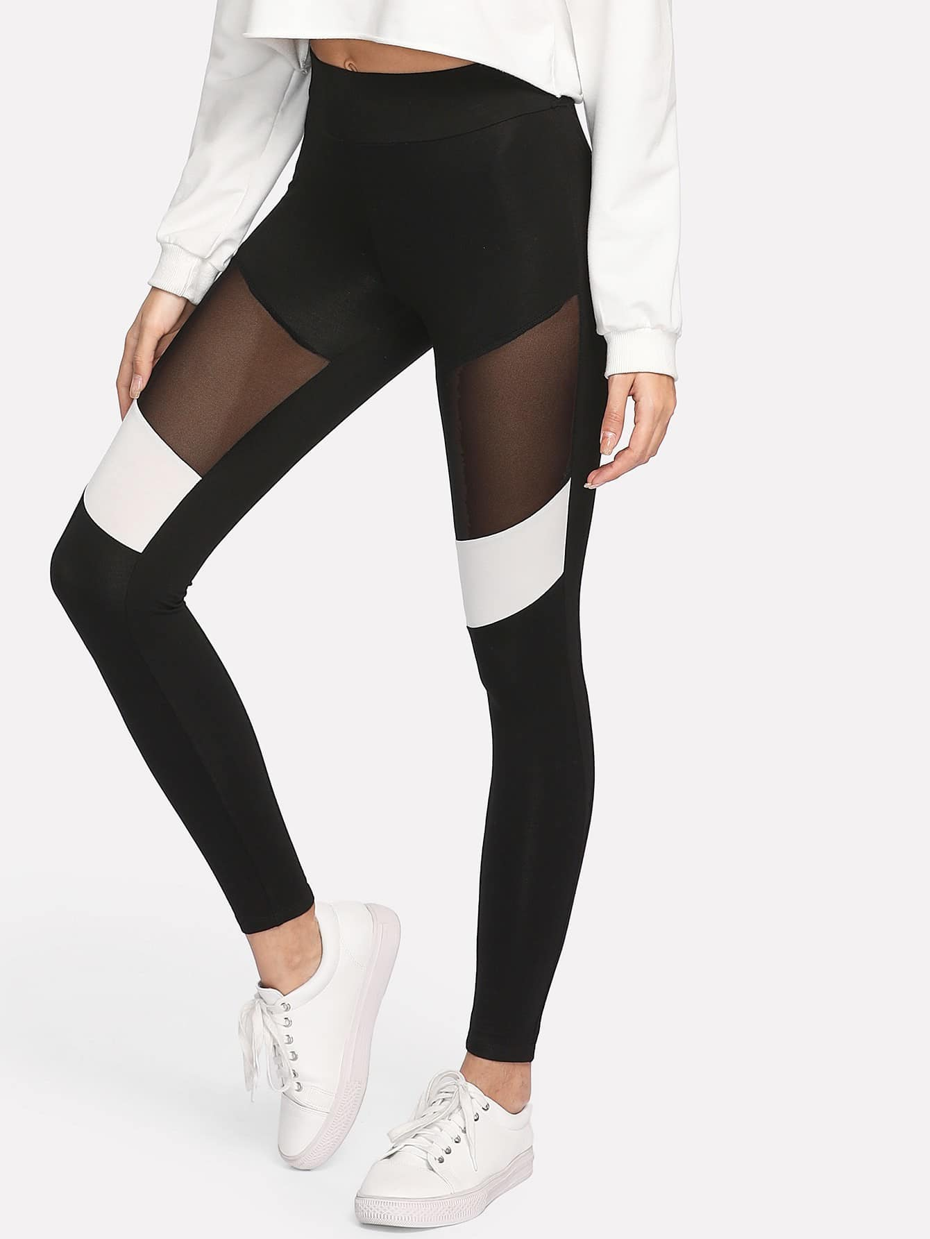 Two Tone Mesh Insert Leggings two tone heart