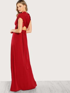 Plunging Neckline Self Adjustable Draped Dress RED