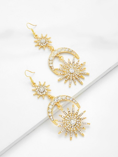 Rhinestone Moon & Sun Design Drop Earrings