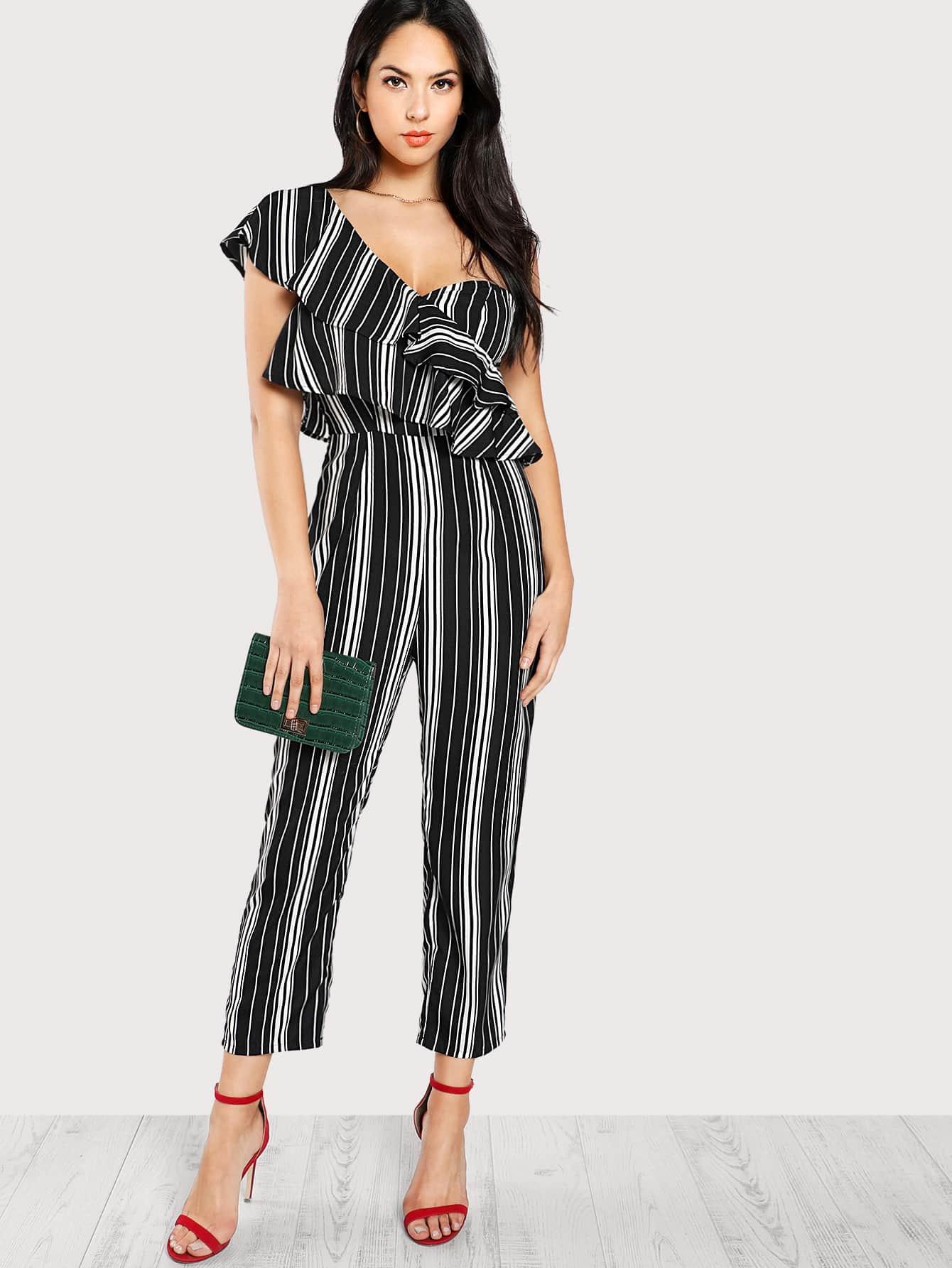 Asymmetrical Flounce Layered Shoulder Striped Jumpsuit black one shoulder frill layered design jumpsuit