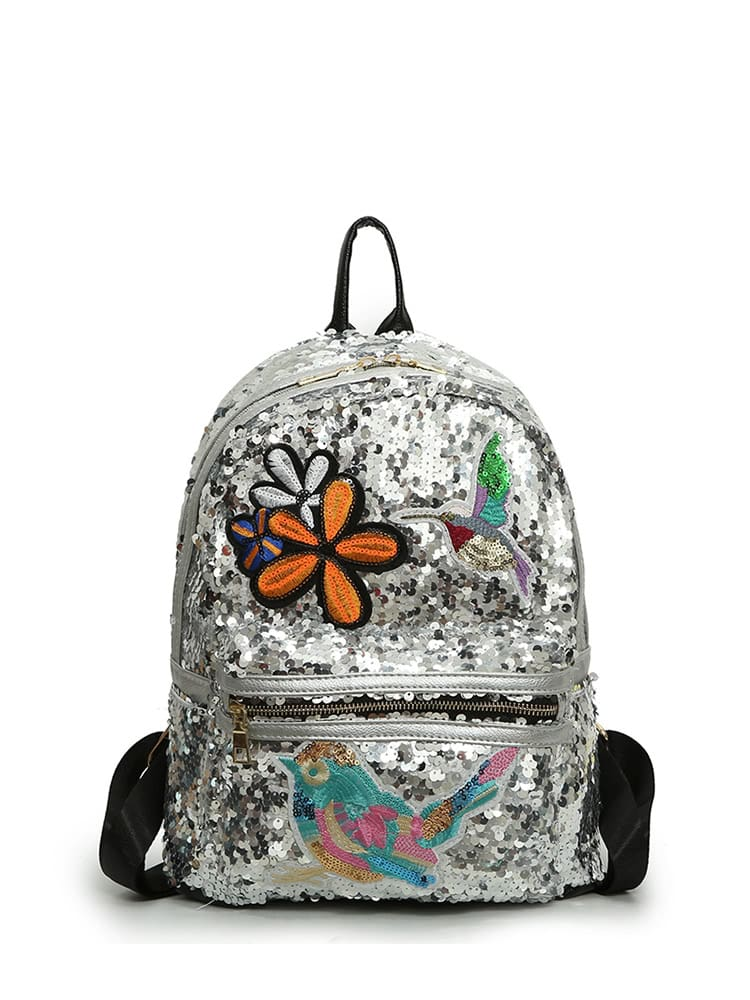 Bird And Floral Embroidered Sequin Backpack 2017 newinferior smooth pointed high women s shoes with ankle boots fine low europe and the united states pointe