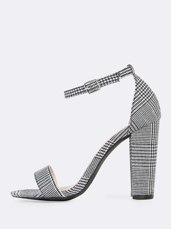 563cd83225 Plaid Print Ankle Strap Heels BLACK WHITE | MakeMeChic.COM
