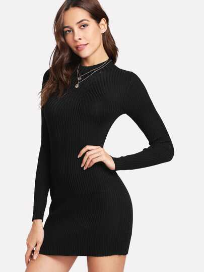 Geripptes Bodycon Strick Kleid
