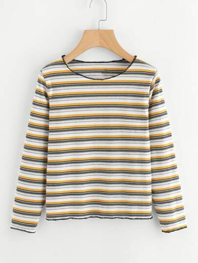 Contrast Striped Ribbed Tee
