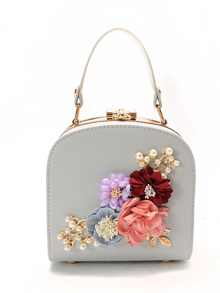 Image of 3D Flower Faux Pearl Detail Shoulder Bag