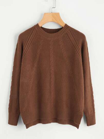 Raglan Sleeve Cable Knit Sweater