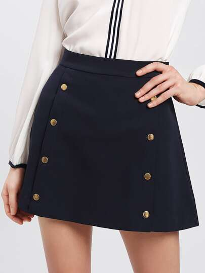 Double Breasted Detail Zip Up Back Skirt