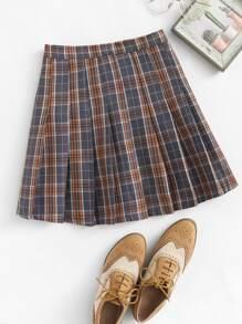 Plaid Pleated Zip Up Side Skirt