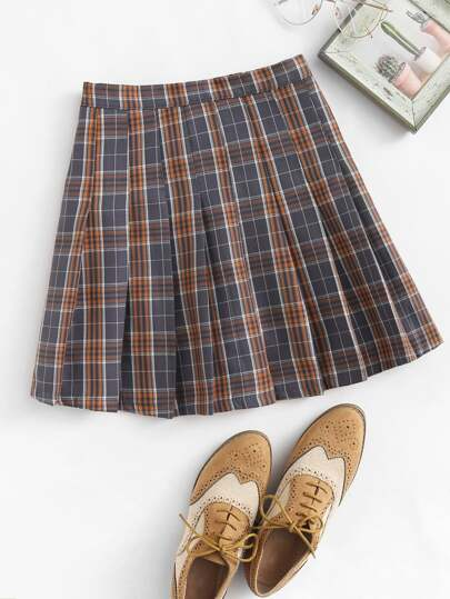Plaid Pleated Zip Up Side Skirt