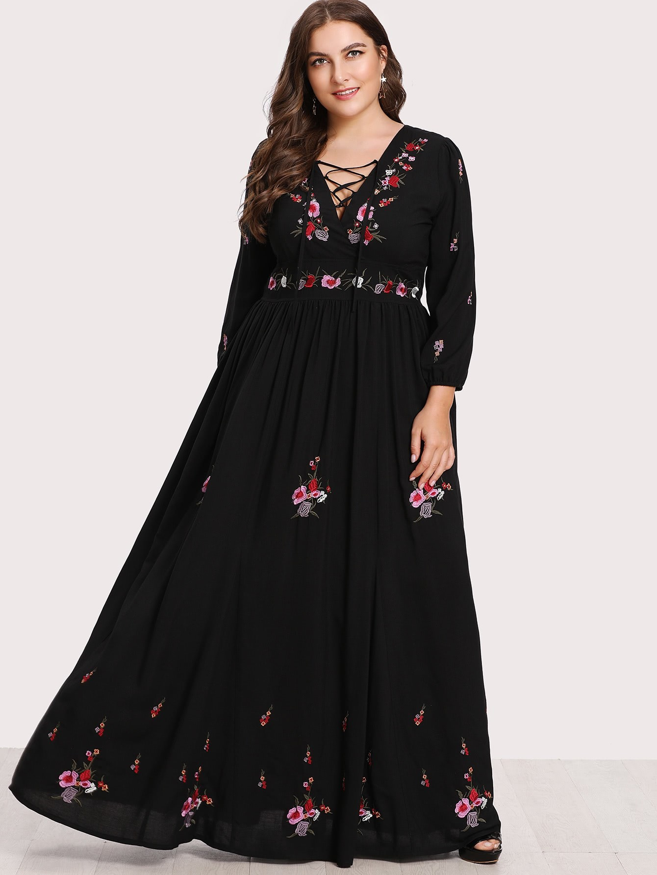 Lace up front flower embroidered maxi dress shein sheinside