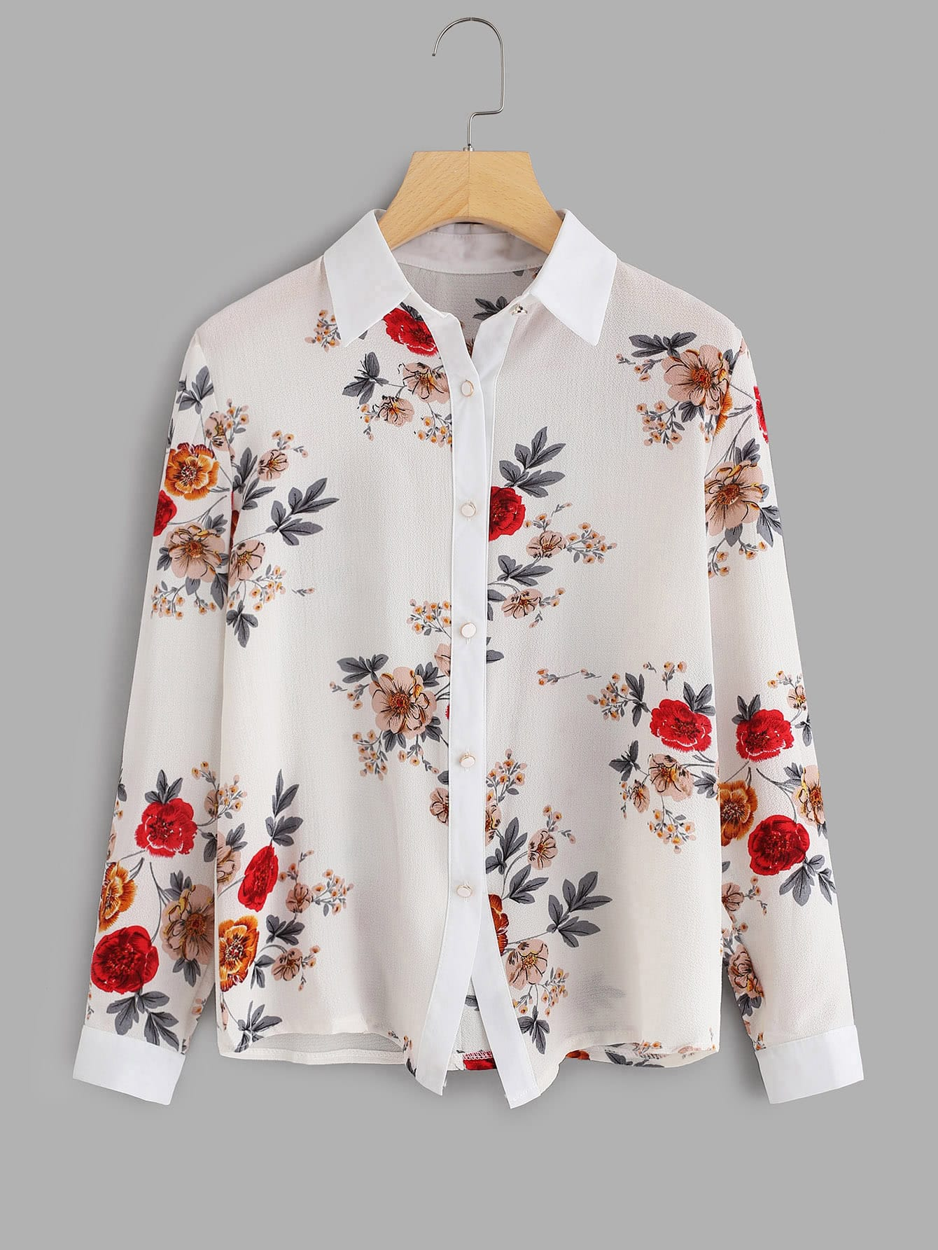 Random Botanical Print Shirt fit 12486