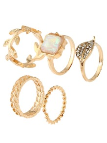 Cube Stone Leaf Shaped Ring Set 5pcs