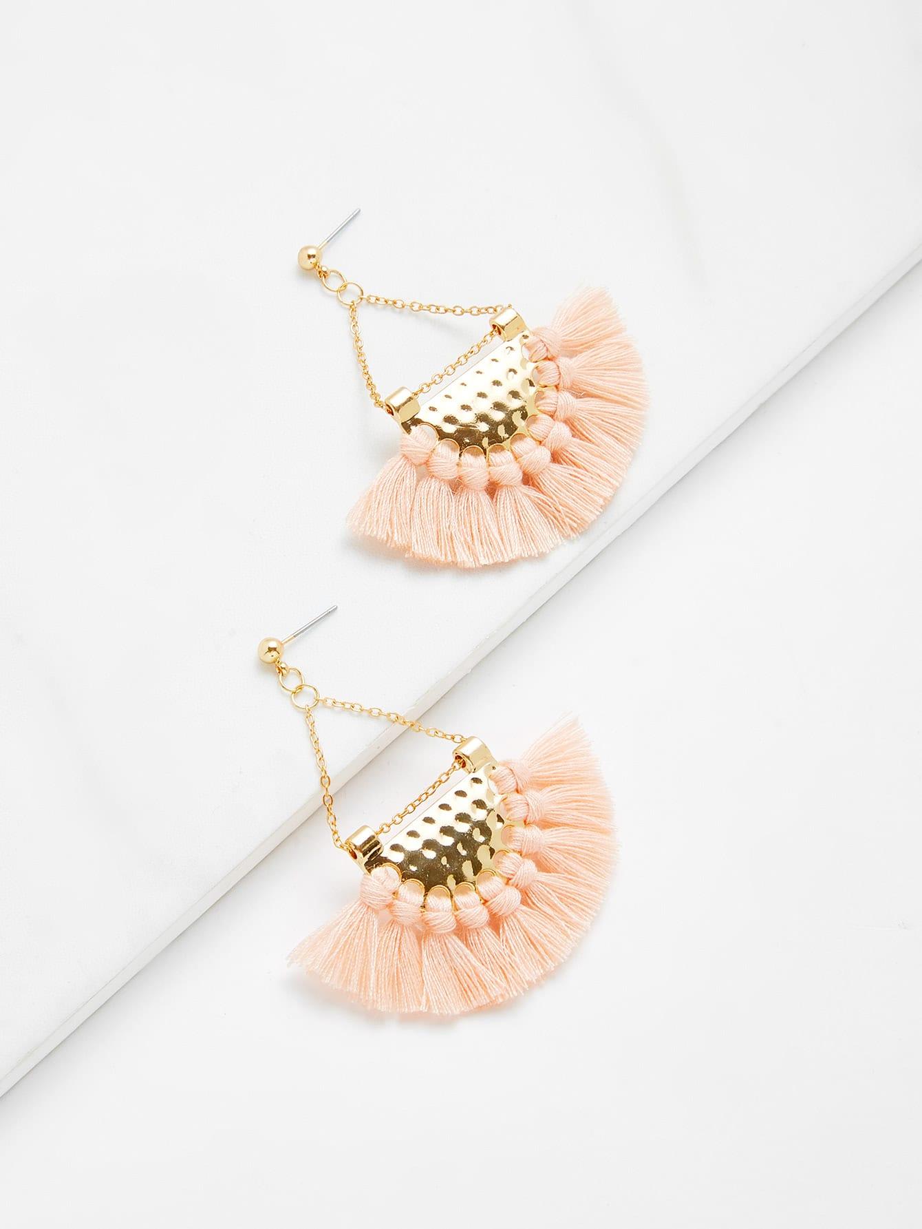 Mini Tassel Drop Earrings silver plated strip tassel drop earrings