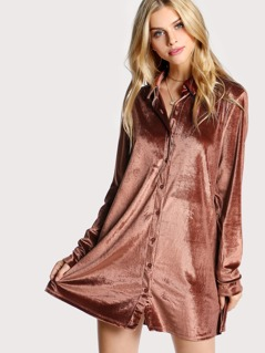 Velvet Button Down Dress RUST
