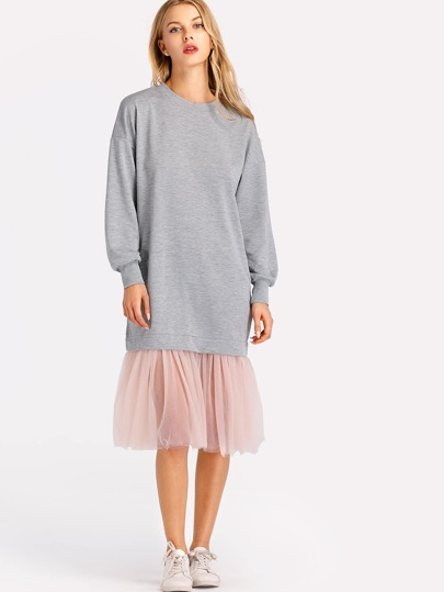 Contrast Mesh Hem Marled Sweatshirt Dress