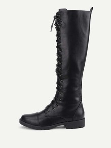 Lace Up Front PU Flat Boots