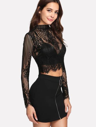 Button Keyhole Back Eyelash Lace Crop Top