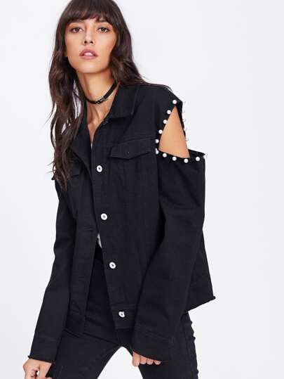 Pearl Beaded Cutout Sleeve Utility Jacket