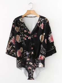 Button Up Floral Velvet Bodysuit