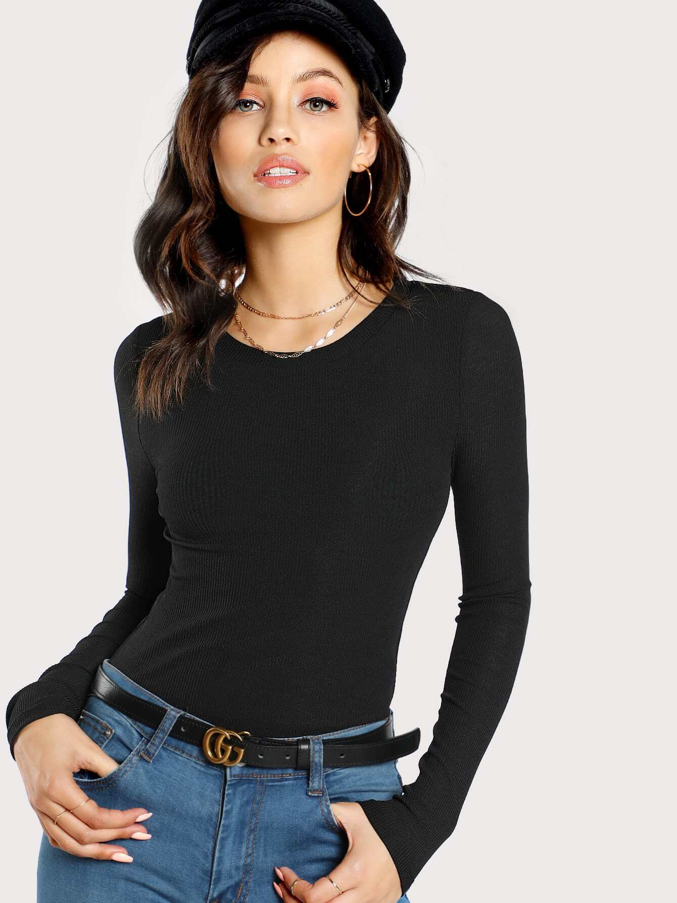 Laddering Detail Rib Knit Crop Top teemmc171025702