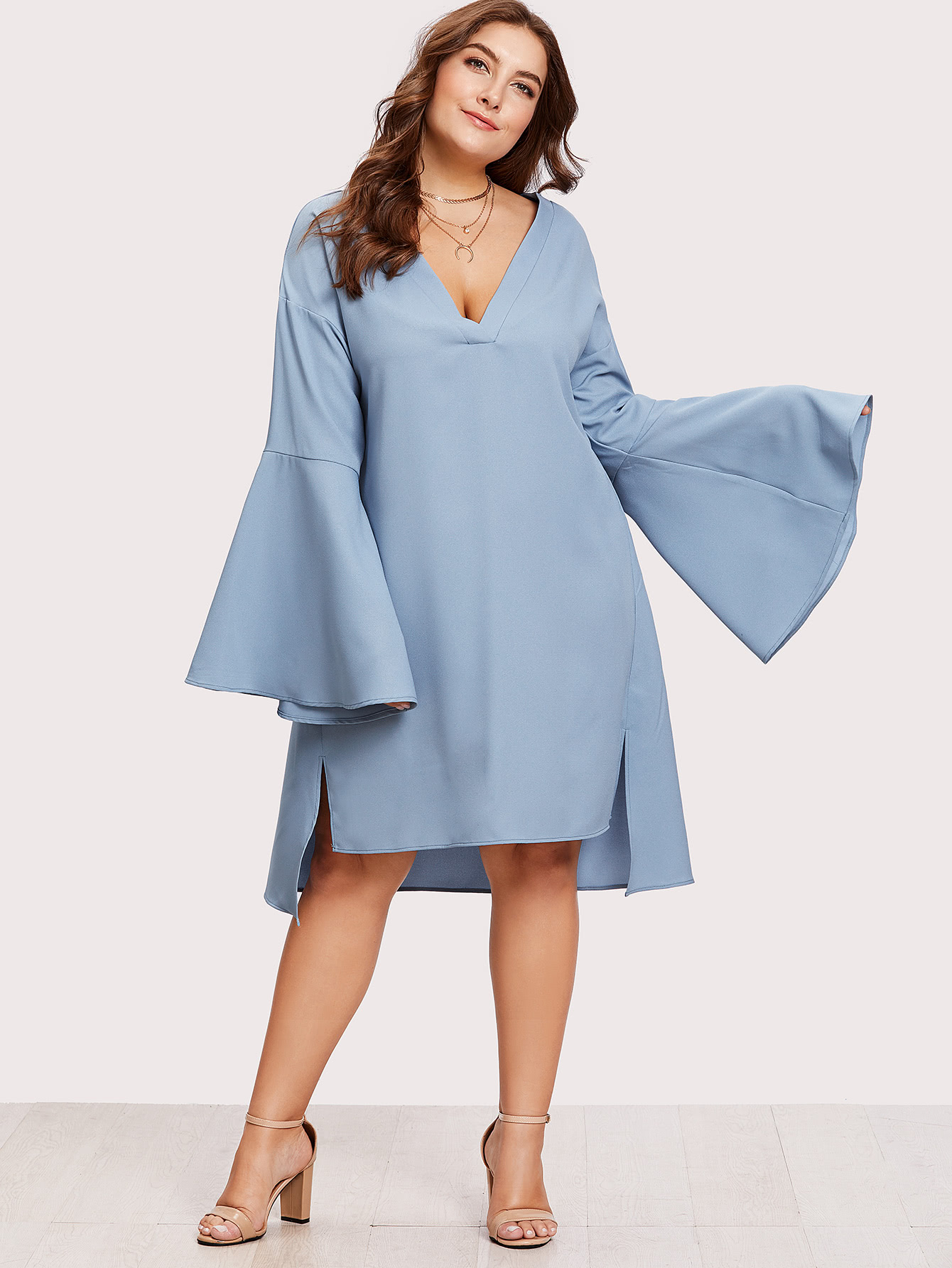 Plus Exaggerate Trumpet Sleeve Stepped Hem Dress