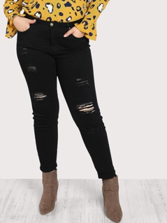Distressed Denim Pants BLACK