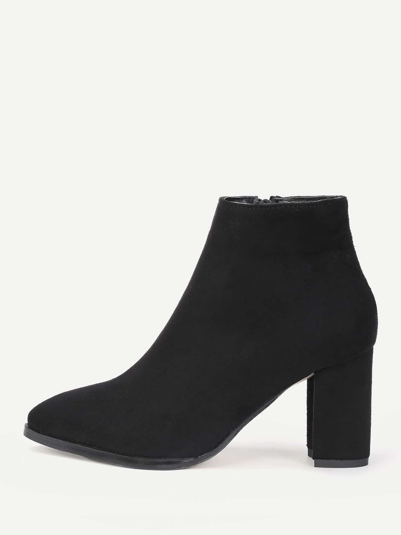 Image of Almond Toe Side Zipper Ankle Boots