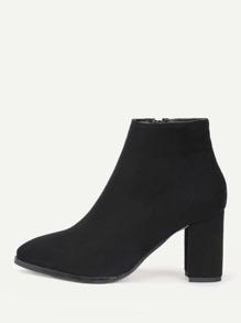 Almond Toe Side Zipper Ankle Boots