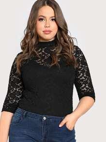 Mock Collar Lace Long Sleeve Top BLACK