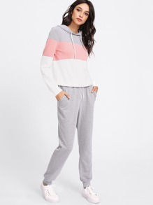 Cut And Sew Hoodie & Sweatpants Set
