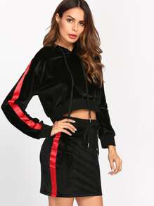 Striped Raglan Crop Velvet Hoodie & Shorts Set