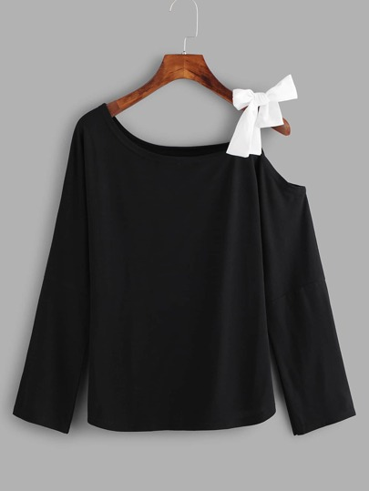 Knot Detail Asymmetric Neck Tee